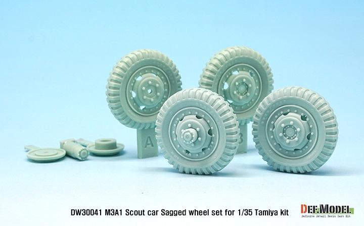 DEF Model 1//35 US M3A1 Scout Car Sagged Wheel set for Tamiya kits